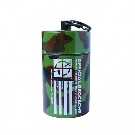 Small Cylinder Geocache- Dark Camo